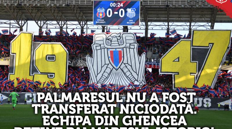 Palmaresul istoric al echipei Steaua aparține Clubului Sportiv al Armatei Steaua